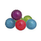 Pack of 6 Spikey Bounce Balls with Light and Squeaker