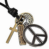 Urban Male Adjustable Length Brown Leather Necklace with Peace Symbol Pendant