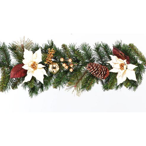Buy 6ft garland with white poinsettias from our all for 5ft poinsettia garland christmas decoration
