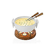 Boska Twinkle Candle Fondue Set 4 Person in White and Oak 340031