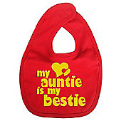 Dirty Fingers My Auntie is my Bestie Baby Bib Red