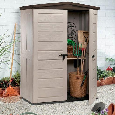 Keter plastic garden shed ksheda for Garden shed tesco