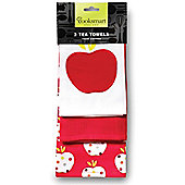 Cooksmart Red Apple Tea Towels, Pack of 3
