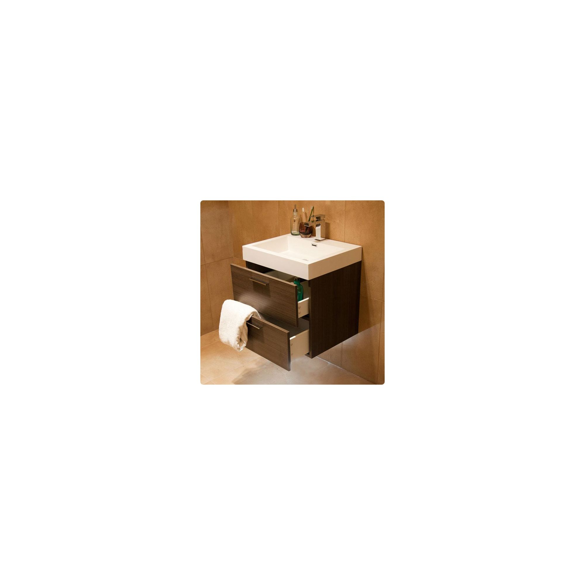 Durab Evolution Bathroom GREY OAK Vanity Unit (Wall Mounted) including Basin 580mm Wide x 468mm Deep