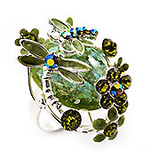 Exquisite Flower And Butterfly Cocktail Ring (Silver And Olive Green)