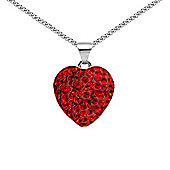 Jewelco London Sterling Silver Crystal Love Red Heart Pendant - 18 inch Chain