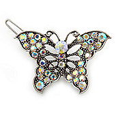 Vintage Inspired AB Crystal 'Butterfly' Hair Slide In Antique Silver Metal - 45mm Across