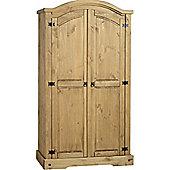 Corona Mexican 2 Door 1 Shelf Wardrobe Distressed Waxed Pine