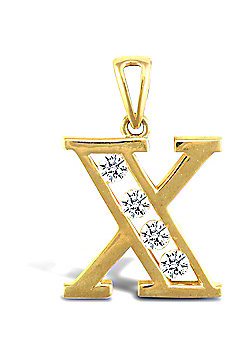 Jewelco London 9ct Gold CZ Initial ID Personal Pendant, Letter X - 1.9g