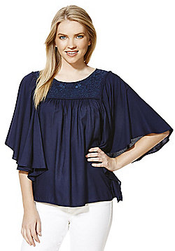 Only Embroidered Yoke Flutter Sleeve Top - Navy