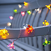 24 Pastel Flower Outdoor Battery LED Fairy Lights