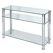 LEVV Console Table with Chrome Legs - Clear