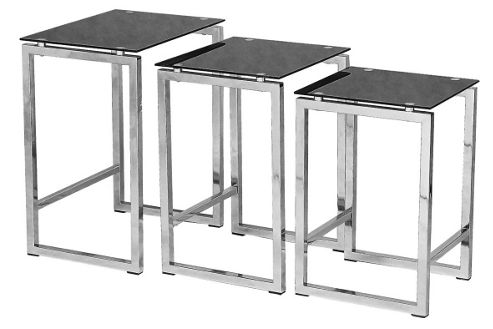 Premier Housewares 3 Piece Nest of Tables with Black Tempered Glass Tops