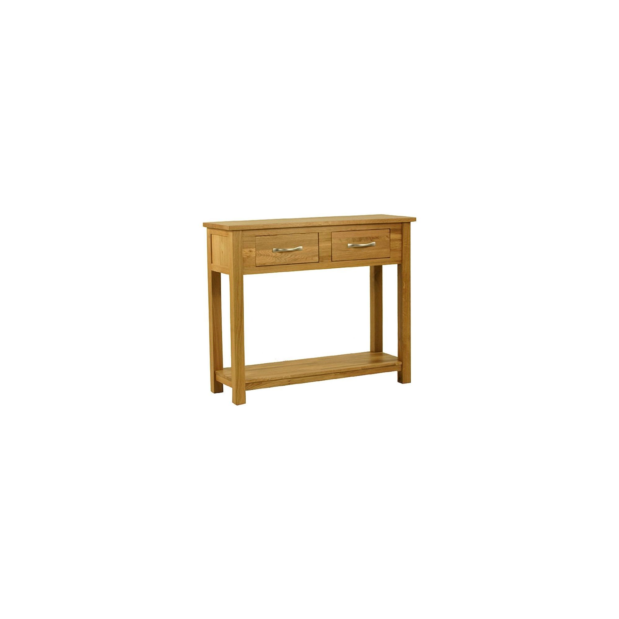 Kelburn Furniture Essentials Console Table in Light Oak Stain and Satin Lacquer