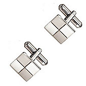 Fred Bennett Brushed and Polished Stainless Steel Square Cufflinks