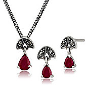 Sterling Silver Ruby & Marcasite July Birthstone Stud Earring & Necklace Set