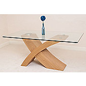 Valencia Glass & Oak 160 cm Dining Table