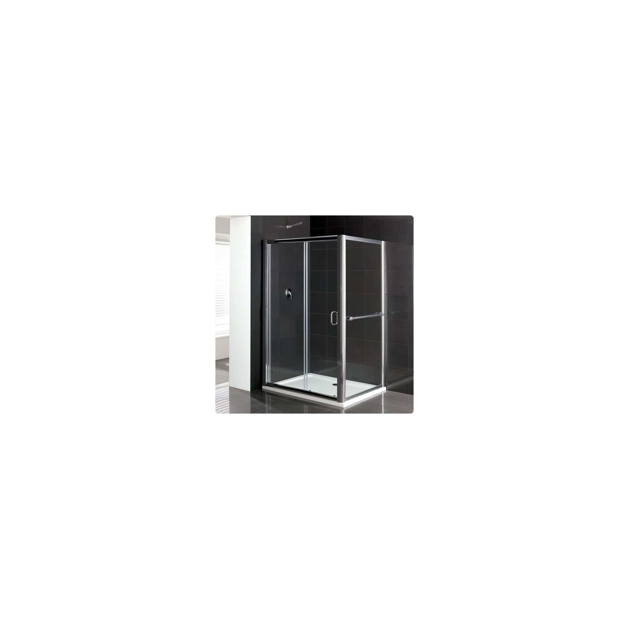 Duchy Elite Silver Sliding Door Shower Enclosure with Towel Rail, 1000mm x 760mm, Standard Tray, 6mm Glass at Tesco Direct