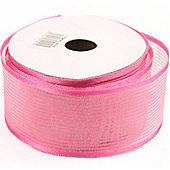 Ribbon Organza Stripe Sheer Ribbon - Pale Pink - 25m