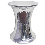 Homescapes Elegant Designer Solid Metal Silver Footstool, HOURGLASS 32 cm High