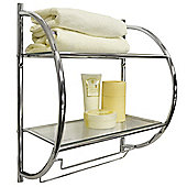 Curve - Two Tier Metal Wall Shelf / Towel Rail - Silver