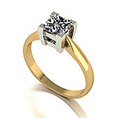 18ct Gold 5.5mm Square Brilliant Moissanite Single Stone Ring