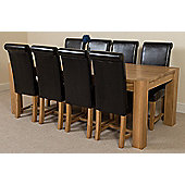 Kuba Chunky Solid Oak 220 cm with 8 Black Washington Chairs