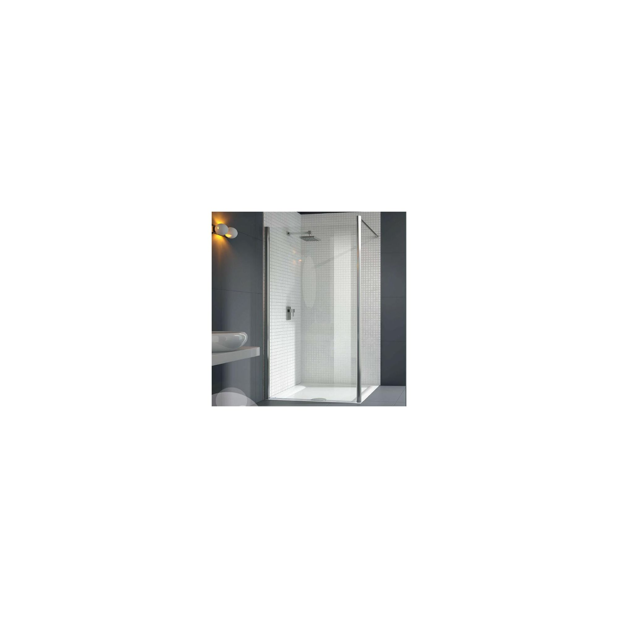 Merlyn Vivid Six Wet Room Shower Glass Panel 800mm Wide with Horizontal Support Bar at Tesco Direct