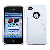 iTALKonline 12534 White Wave Silicone Crystal Twin Case - Apple iPhone 4