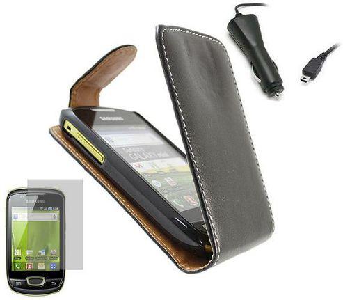 Black Clip On Flip Case, Screen Protector, Car Charger - Samsung S5570 Galaxy Mini