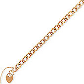 "Jewelco London 9ct Rose Gold - Curb Link Charm Bracelet with Padlock - 7.5""/19cm"