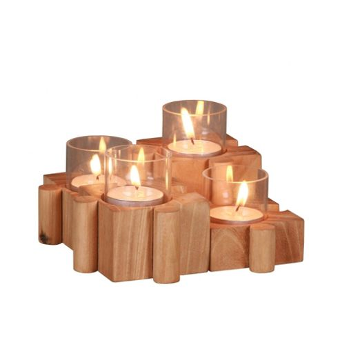 Katigi Designs 14cm Reclaimed Wood Candle Holder