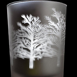 Set of 3 Wonderland Tree Silhouette Frosted Tealight Holders