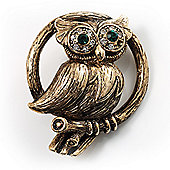 Vintage Crystal Owl Brooch (Antique Gold)