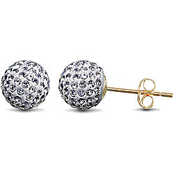 Jewelco London 9ct Gold Clear sparkling Crystal set 8mm Disco Ball Studs
