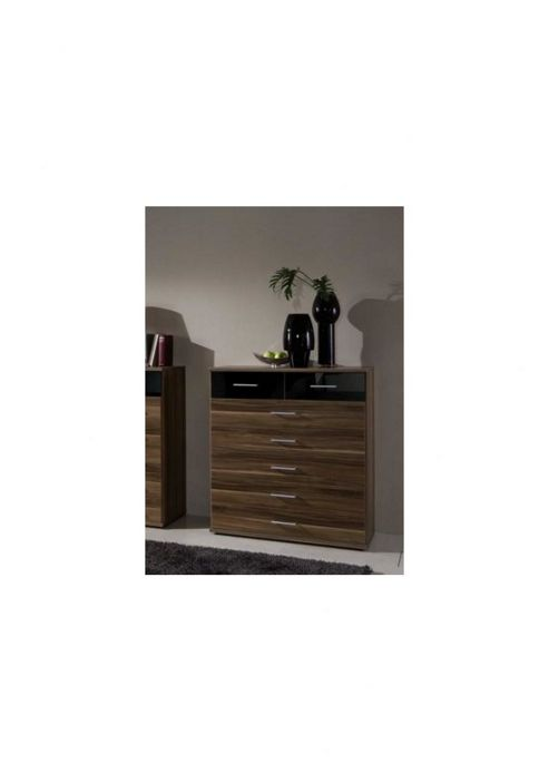 Amos Mann furniture Milano 7 Drawer Chest of Drawers - Black and Walnut