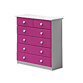 4 + 2 Chest of Drawers in White and Fuchsia