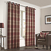 Julian Charles Inverness Rust Lined Woven Eyelet Curtains - 90x72 Inches (229x183cm)