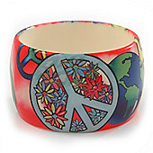 Wide Chunky Acrylic 'Peace' Bangle Bracelet - up to 20cm wrist