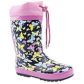 Brantano Girls Pastel Butterfly Navy Wellington Boots - Blue