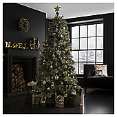 Pine 6.5ft Christmas Tree with Cone & Glitter, Tesco