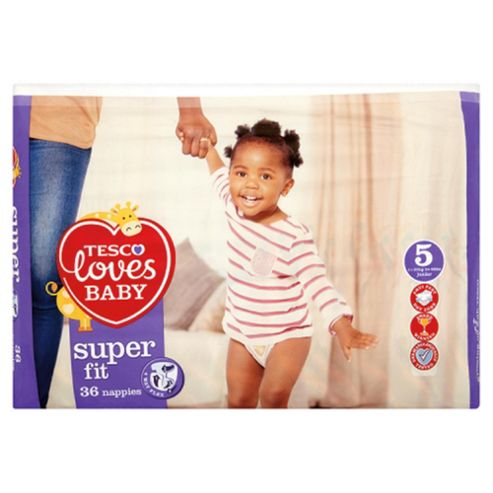 Tesco Loves Baby Super Fit Size 5 Junior Economy Pack - 36 Nappies