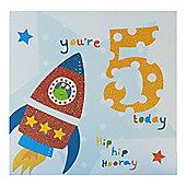 Blue Fizz Boys 5th Birthday Card