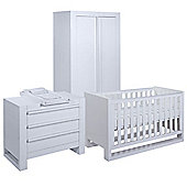 Tutti Bambini Rimini 3 Piece Room Set (Cot, Chest, Wardrobe) - High Gloss White Finish