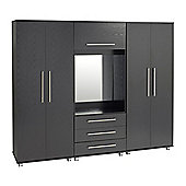Ideal Furniture Bobby 4 door Wardrobe with drawers - Black