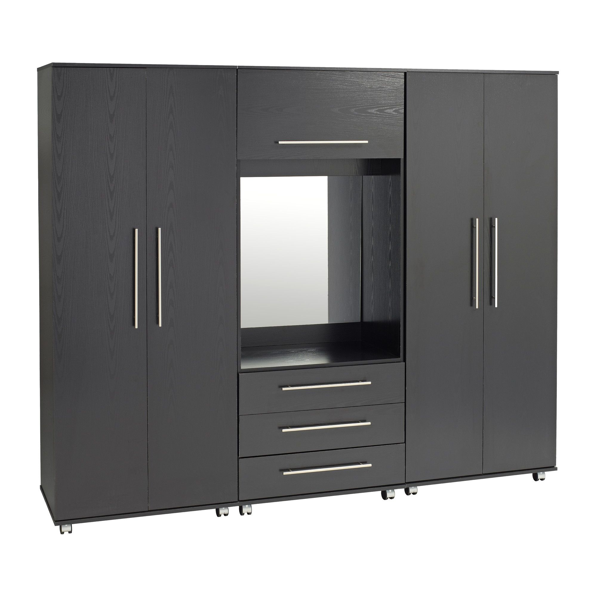 Ideal Furniture Bobby Fitment Wardrobe - Black at Tesco Direct