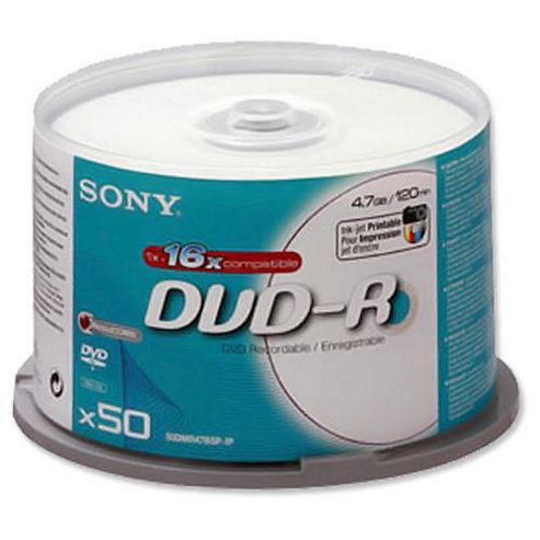 Sony 16X 4.7GB DVD-R Inkject Printable Spindle, 50-pack