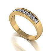 18ct Gold 7 Stone Channel Set Moissanite Eternity Ring