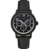 Original Penguin Black Leather Strap Watch OP5008BK