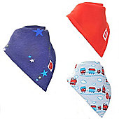 Zippy Trains/Stars/Red Absorbent Bandana Dribble Bibs, 3 pack, one size